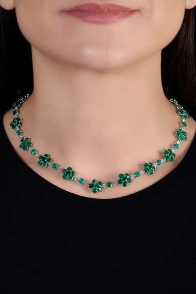 View 4. Thumbnail of Lot 715. Graff | Emerald and diamond necklace | 格拉夫 | 祖母綠配鑽石項鏈.