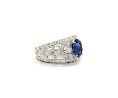 View 2. Thumbnail of Lot 22. SAPPHIRE AND DIAMOND RING.