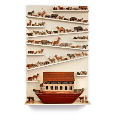 EXCEPTIONAL GERMAN CARVED AND PAINT DECORATED PINE NOAH'S ARK AND ANIMALS, 19TH CENTURY