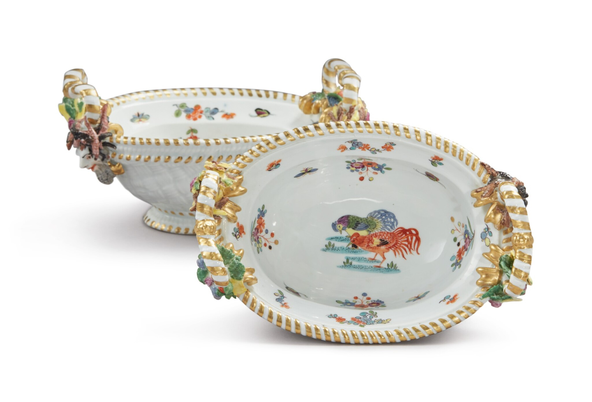 View full screen - View 1 of Lot 297. A PAIR OF MEISSEN OVAL SMALL BASKETS, CIRCA 1735.