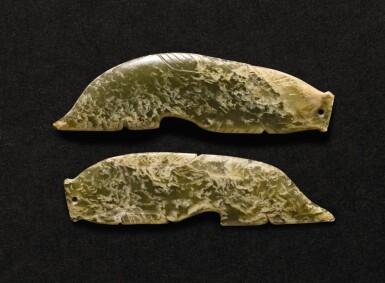 View 1. Thumbnail of Lot 213. TWO CELADON JADE 'FISH' PENDANTS SHANG DYNASTY - WESTERN ZHOU DYNASTY | 商至西周 青玉魚形珮一組兩件.