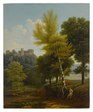 View of a brook in the countryside, a castle in the hillside above, with Pâris and Oenone in the foreground