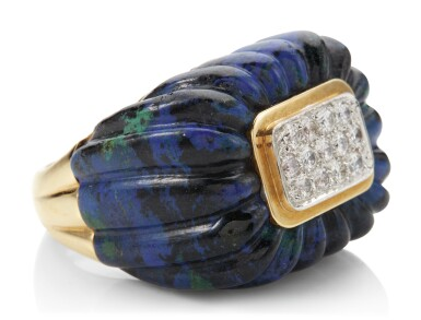 View 2. Thumbnail of Lot 1013. AZURMALACHITE AND DIAMOND RING, DAVID WEBB.