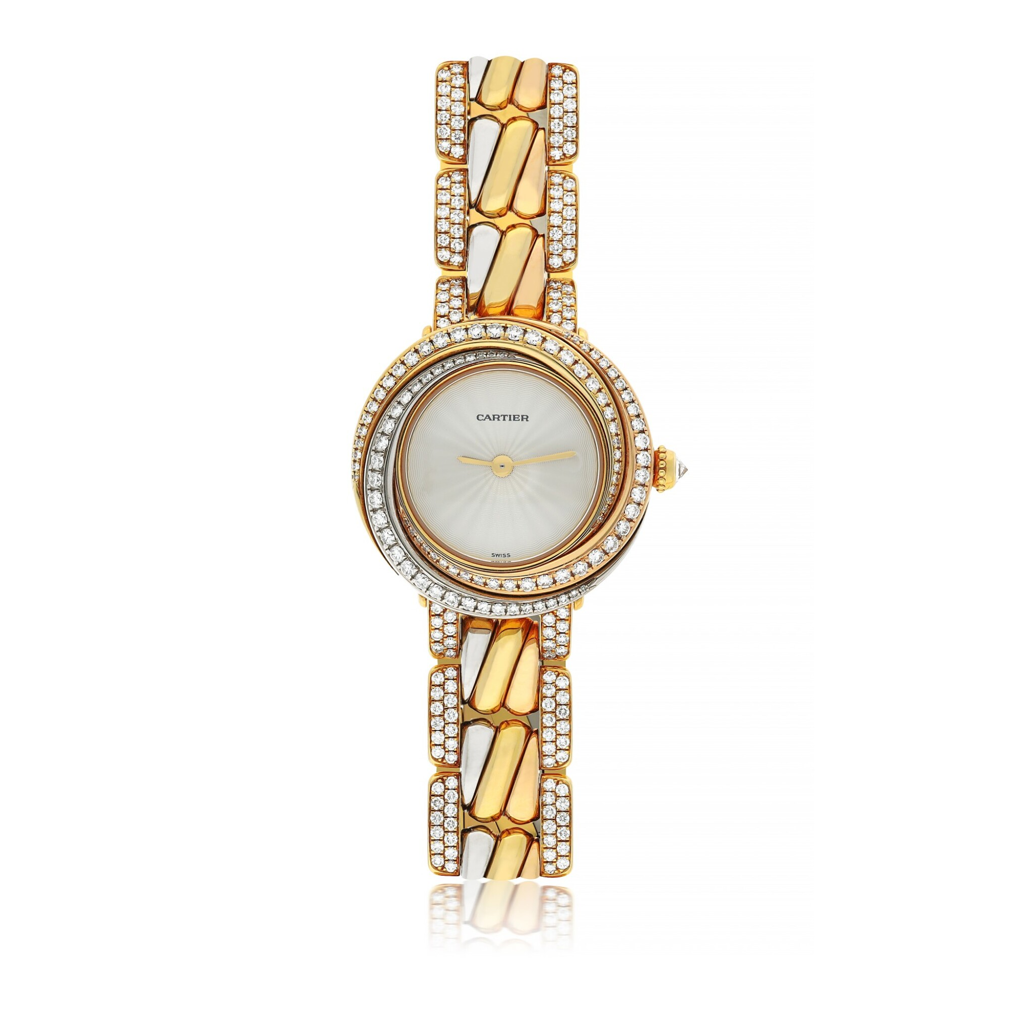 View full screen - View 1 of Lot 42. CARTIER | REF 2357 TRINITY, A TRI-COLOR GOLD AND DIAMOND SET BRACELET WATCH CIRCA 2015.