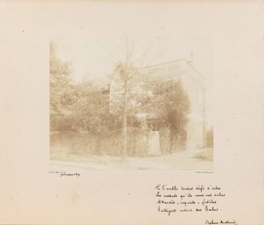 View 1. Thumbnail of Lot 134. Quatrain autographe à Mery Laurent (nov. 1890), sous la photo de sa maison qui allait être détruite..