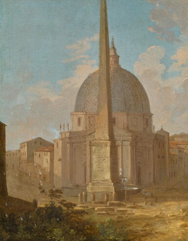 View 1. Thumbnail of Lot 162. A capriccio view of Santa Maria di Montesanto and the Flaminio obelisk, Piazza del Popolo, Rome.