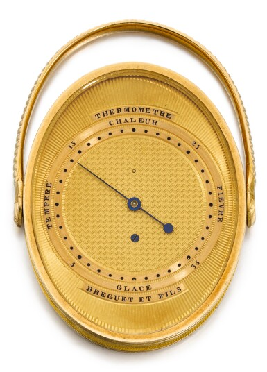 View 1. Thumbnail of Lot 59. BREGUET ET FILS   [寶璣]    A VERY RARE GOLD OVAL RING THERMOMETER  NO. 2119, SOLD 1 MAY 1810 BY MOREAU OF LA MAISON RUSSIE TO COMTE POTOCKI FOR 336 FRANCS   [極罕有黃金橢圓形溫度計,編號2119,1810年5月1日以336法郎售予波托茨基伯爵].