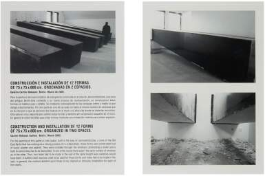 SANTIAGO SIERRA | CONSTRUCTION AND INSTALLATION OF 12 FORMS OF 75 X 75 CM. ORGANIZED IN TWO SPACES.