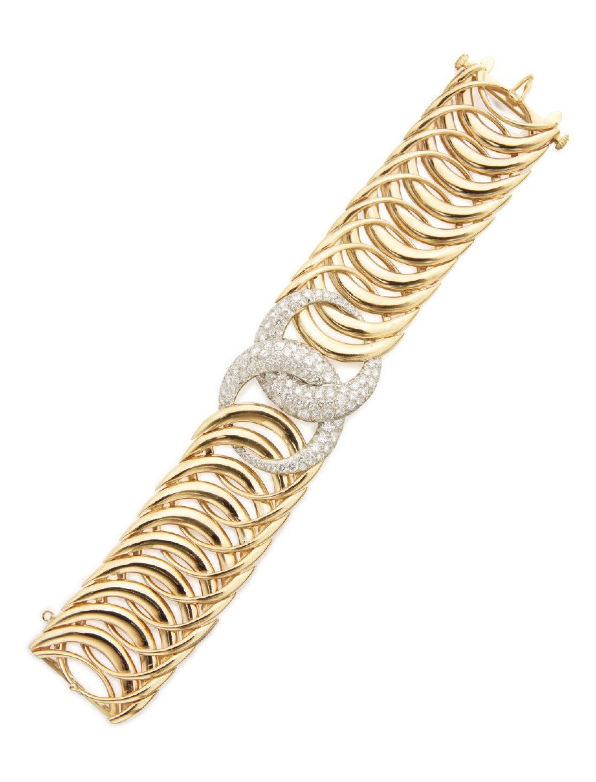 View full screen - View 1 of Lot 2. VERDURA   GOLD AND DIAMOND 'DOUBLE CRESCENT' BRACELET.