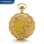WALTHAM  [ 沃爾瑟姆製]    A VARI-COLOUR GOLD AND DIAMOND-SET HUNTING CASED KEYLESS LEVER WATCH OF EQUESTRIAN THEME  CIRCA 1910, P.S. BARTLETT MODEL 1908, NO. 18109735  [ 多色黃金鑲鑽石懷錶飾馬術主題圖案,年份約1910,P.S. BARTLETT型號1908,編號18109735]