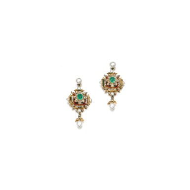 View 1. Thumbnail of Lot 220.  PAIR OF EMERALD, DIAMOND AND SEED PEARL EARRINGS, 1870S.