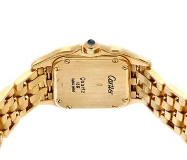 View 5. Thumbnail of Lot 23. Panthère  A yellow gold square shaped wristwatch with bracelet, Circa 1995 .