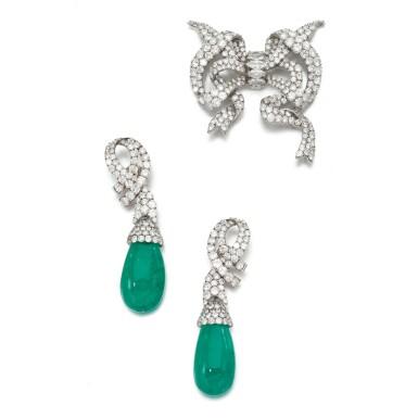 EMERALD AND DIAMOND DEMI-PARURE