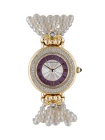 AUDEMARS PIGUET | YELLOW GOLD AND DIAMOND-SET WRISTWATCH WITH MOTHER-OF-PEARL DIAL AND CULTURED PEARL BRACELET CIRCA 1993