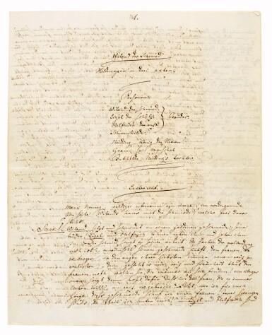 "View 2. Thumbnail of Lot 44. R. Wagner. Autograph manuscript prose draft for ""Wieland der Schmied"", [WWV 82], 1850."