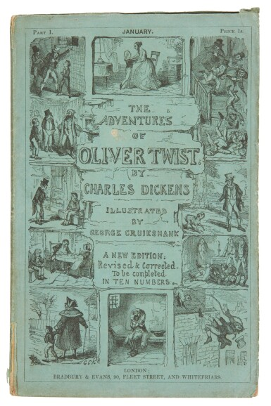 View 2. Thumbnail of Lot 51. Dickens, Oliver Twist, 1846, original parts, bibliographer's copy.
