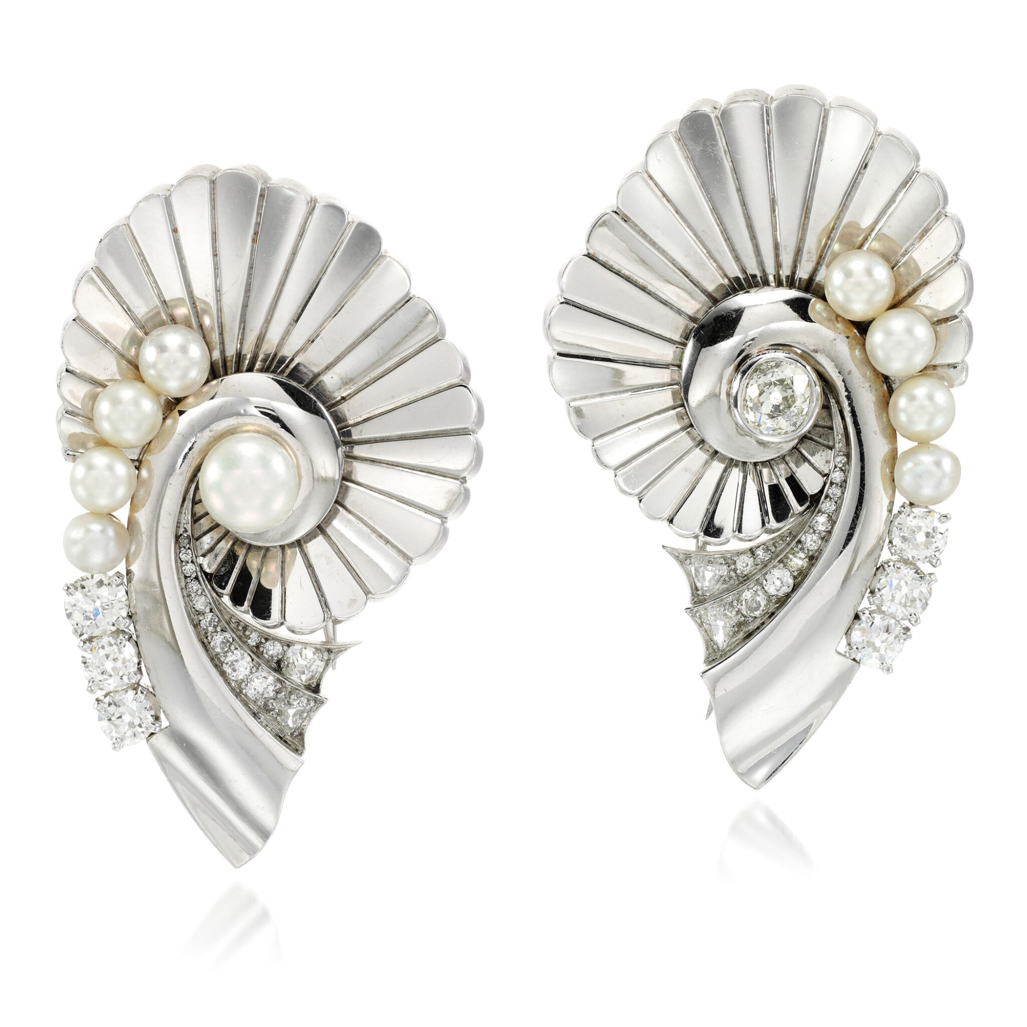 View full screen - View 1 of Lot 160. Pair of pearl and diamond brooches.