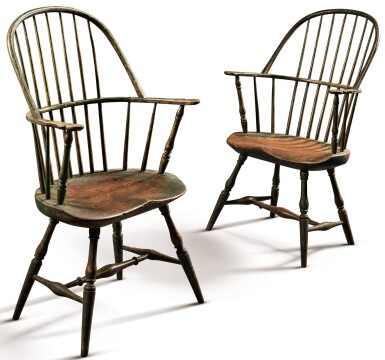 View 1. Thumbnail of Lot 1434. VERY FINE AND RARE PAIR OF GREEN AND RED PAINTED WINDSOR SACK-BACK ARMCHAIRS, NEW ENGLAND, CIRCA 1790.