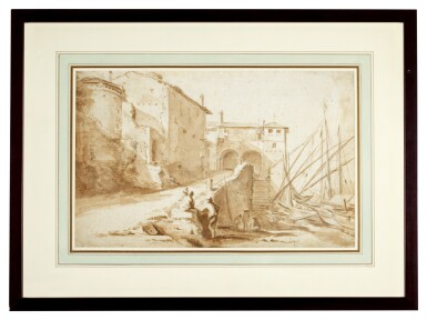 View 2. Thumbnail of Lot 48. View of the Ripa Grande, Rome.