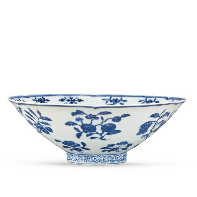View 3. Thumbnail of Lot 131. A finely painted blue and white lobed 'fruit and flower' bowl, Xuande mark and period | 明宣德 青花折枝花果紋葵口碗  《大明宣德年製》款.