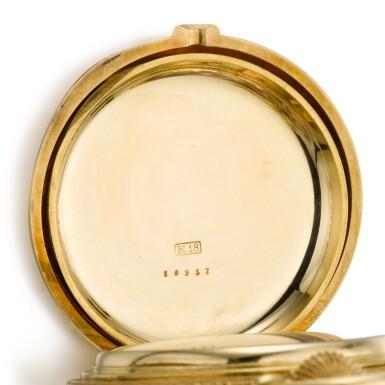 View 4. Thumbnail of Lot 92. GIRARD-PERREGAUX, CHAUX-DE-FONDS [芝柏,拉紹德封] | A RARE AND HEAVY GOLD HUNTING CASED KEYLESS ONE-MINUTE TOURBILLON WATCH WITH PIVOTED DETENT CHRONOMETER ESCAPEMENT,  CIRCA 1890, THREE BRIDGE TOURBILLON [罕有黃金一分鐘陀飛輪懷錶備天文鐘擒縱系統,年份約1890,三橋陀飛輪].