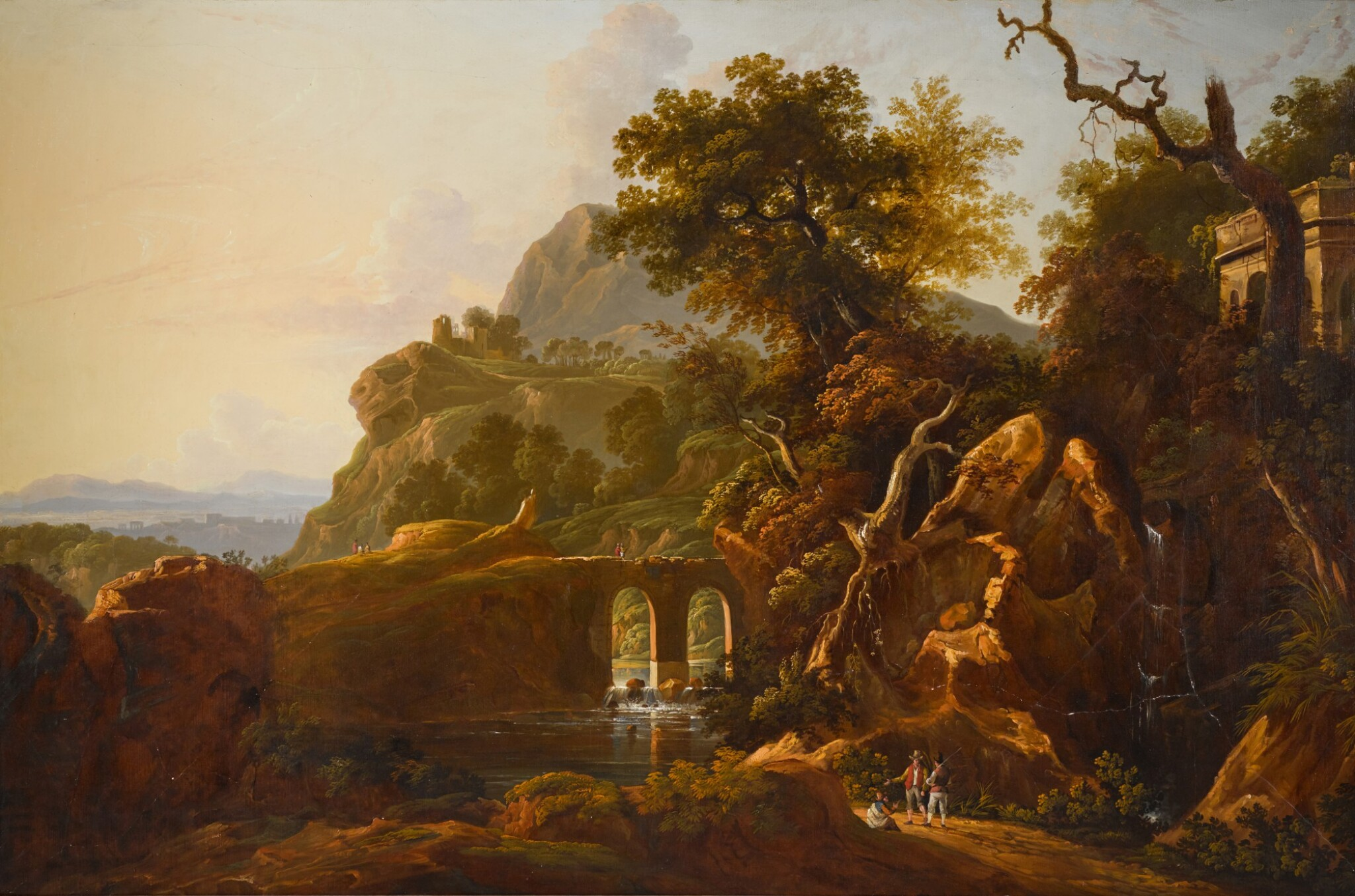 View 1 of Lot 198. A capriccio landscape with travellers below a rocky outcrop.