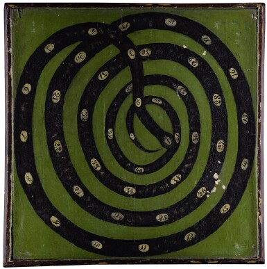 VERY RARE GREEN AND BLACK PAINTED WOODEN DOUBLE-SIDED NUMERICAL SNAKE MOTIF GAMEBOARD, NEW ENGLAND, MID-19TH CENTURY
