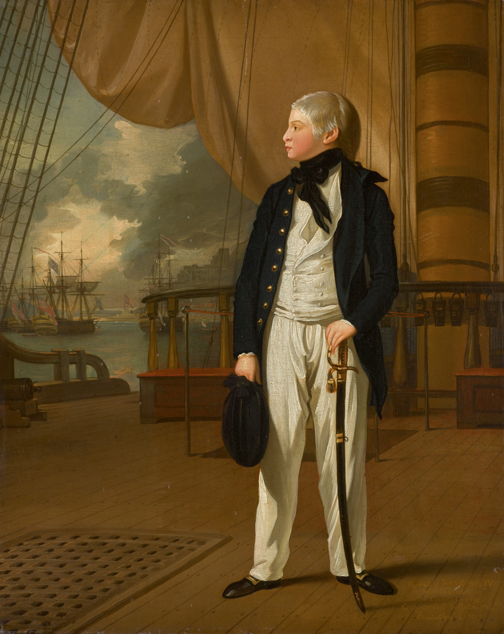 View full screen - View 1 of Lot 48. Portrait of Prince William, later King William IV of Great Britain (1765–1837), when a midshipman, in naval uniform standing on the deck of HMS Prince George | 《身穿海軍服、站在威爾斯親王號戰艦上、時為見習船員的威廉王子肖像,後為英王威廉四世(1765–1837年)》.