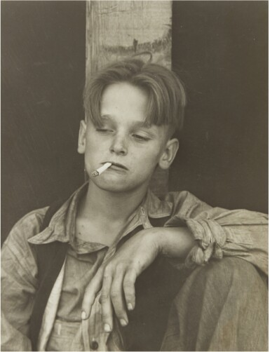 View 1. Thumbnail of Lot 67. DOROTHEA LANGE   'ONE OF THE HOMELESS WANDERING BOYS DRIFTING IN THE COUNTRY BEFORE CCC'.