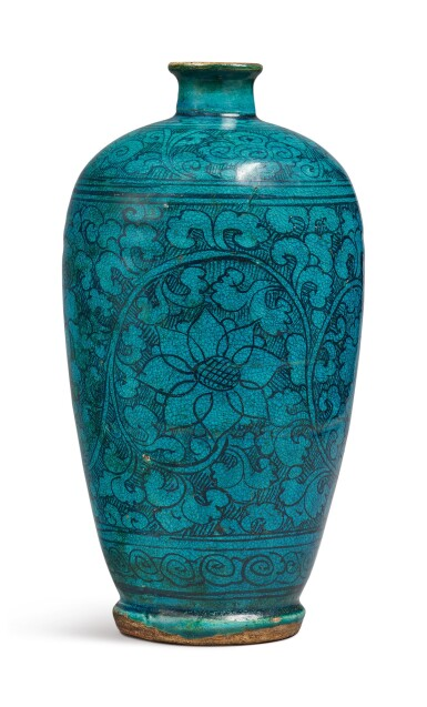 View 4. Thumbnail of Lot 1068. A TURQUOISE-GLAZED 'CIZHOU' 'FLORAL' MEIPING, YUAN / MING DYNASTY.