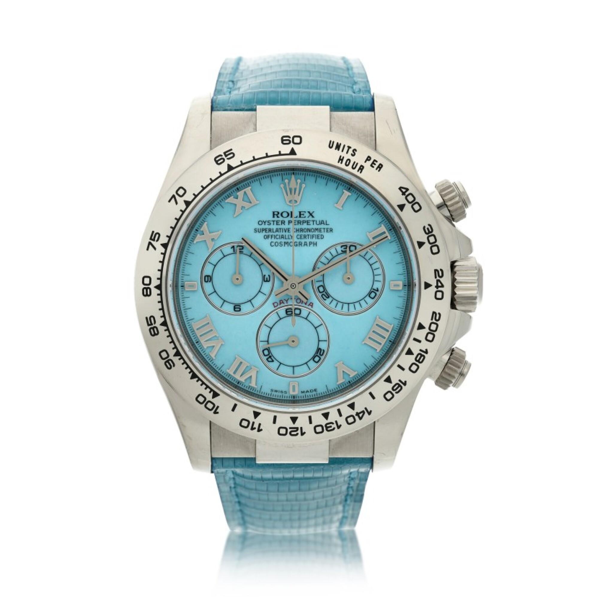 View full screen - View 1 of Lot 4. Reference 116519 'Daytona Beach'  A white gold automatic chronograph wristwatch, Circa 2000.