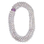 FRESHWATER CULTURED PEARL, AMETHYST AND DIAMOND NECKLACE, MICHELE DELLA VALLE