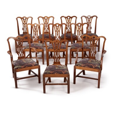 A SET OF TEN GEORGE III MAHOGANY DINING CHAIRS , CIRCA 1770