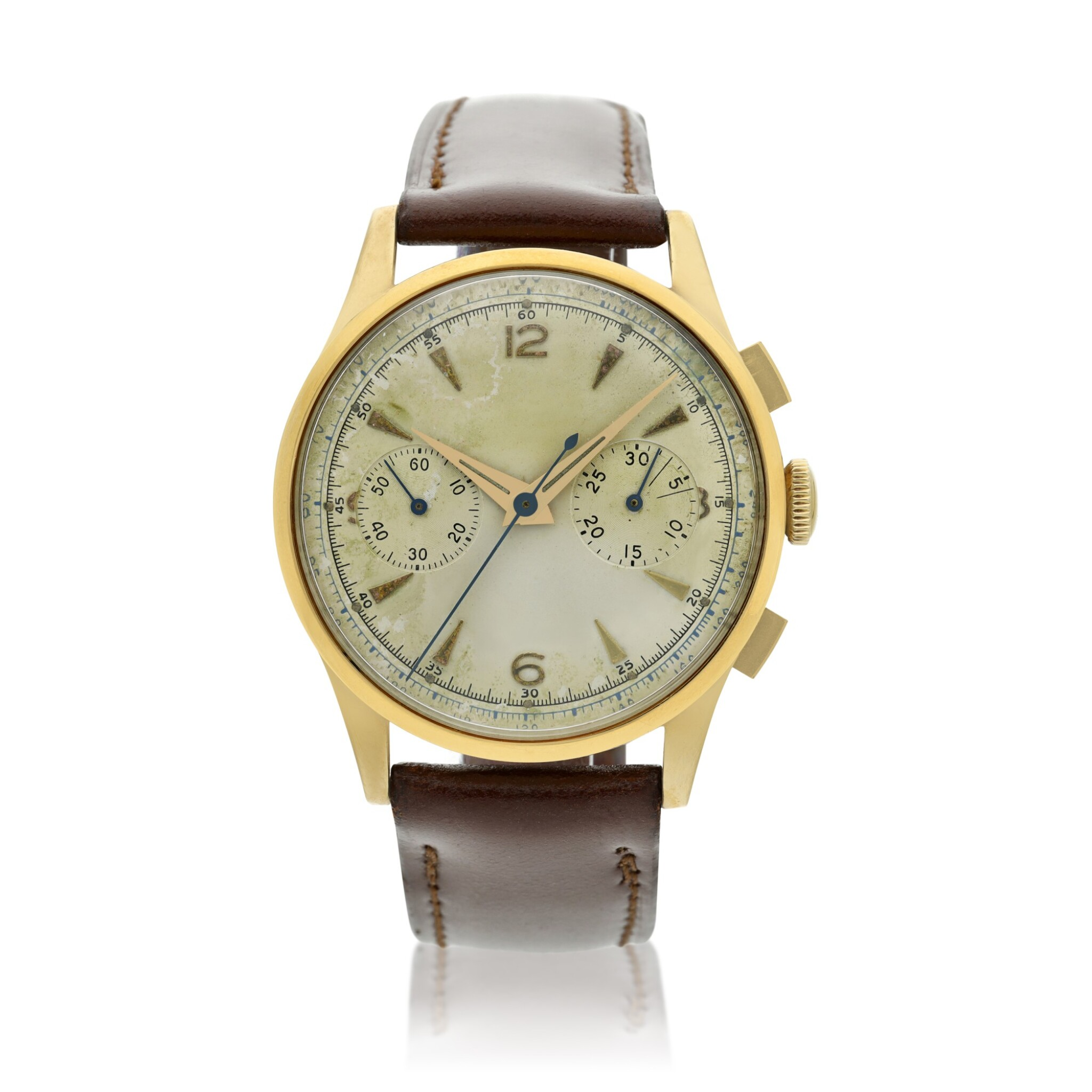 View full screen - View 1 of Lot 116. Reference 2635  A large yellow gold chronograph wristwatch, Circa 1965 .