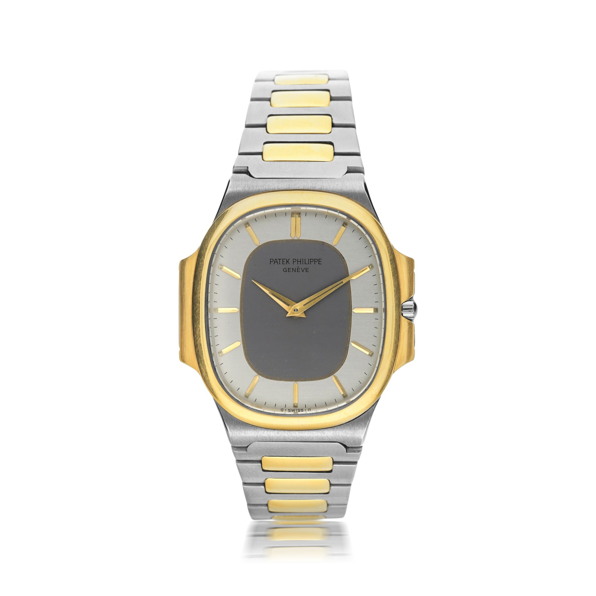 View full screen - View 1 of Lot 134. PATEK PHILIPPE      REFERENCE 3770 'NAUTELLIPSE' A YELLOW GOLD AND STAINLESS STEEL OVAL FORM BRACELET WATCH, CIRCA 1982.