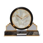 AN OBSIDIAN, MOTHER OF PEARL, ROCK CRYSTAL AND GILT BRASS DESK TIMEPIECE, CIRCA 1980