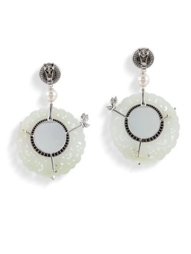 View 3. Thumbnail of Lot 8013. Pair of Jade, Diamond and Cultured Pearl Pendent Earrings | 翡翠 配 鑽石 及 養殖珍珠 耳環一對.
