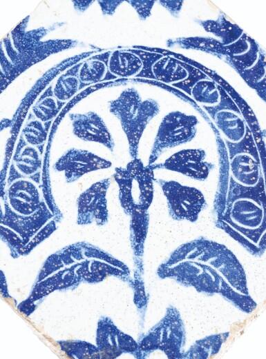 View 4. Thumbnail of Lot 129. Ten Pottery Tile Fragments, Mamluk, Ottoman, Timurid and European, 15th-18th centuries.