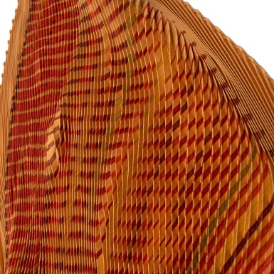 View 8. Thumbnail of Lot 190. HERMÈS | PLISSE SILK SCARF 90 IN ORANGE/RED ACCORDIAN PLEAT FAUBOURG EXPRESS PRINT. DESIGNED BY DIMITRI RYBALTCHENKO, 2009.