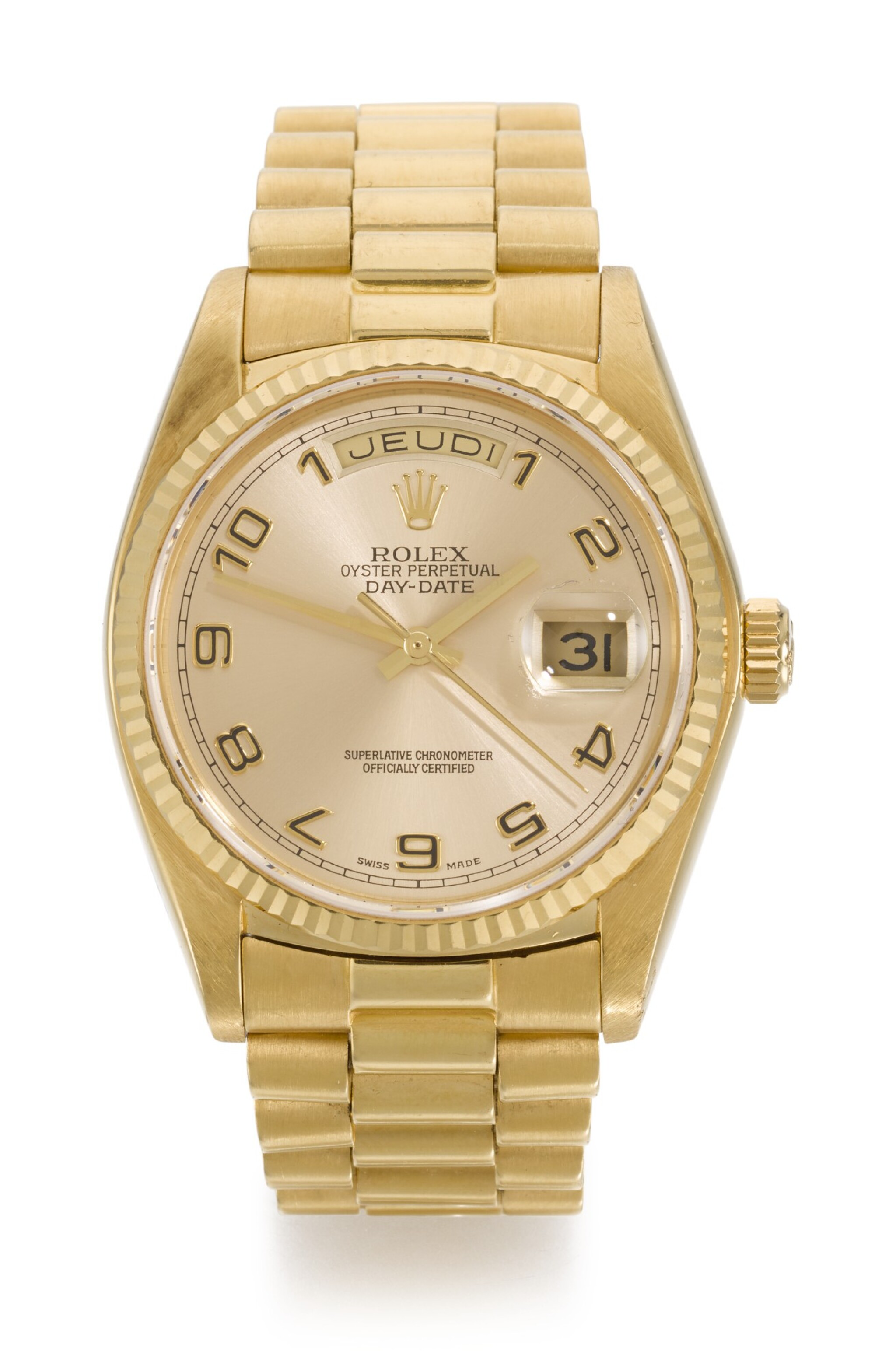 View full screen - View 1 of Lot 6. ROLEX |  DAY-DATE, REFERENCE 18038, YELLOW GOLD WRISTWATCH WITH DAY, DATE AND BRACELET, CIRCA 1979.