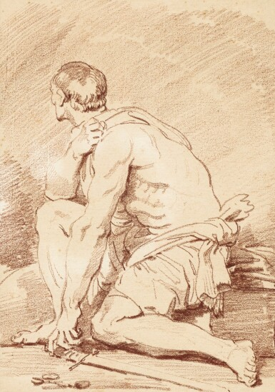 View 1. Thumbnail of Lot 61. A seated gladiator seen in profile.