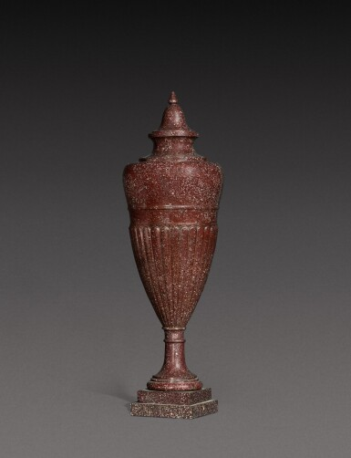 View 2. Thumbnail of Lot 137. An Italian carved porphyry urn, 19th century.