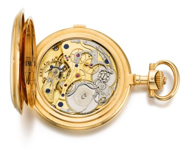 View 2. Thumbnail of Lot 43. A. LANGE & SÖHNE, GLASHÜTTE/DRESDEN   [朗格,格拉蘇蒂/德累斯頓]  | AN EXCEPTIONALLY RARE AND POSSIBLY UNIQUE GOLD HUNTING CASED KEYLESS LEVER CHRONOGRAPH WATCH WITH CENTRAL MINUTE REGISTER  CIRCA 1908, NO. 61601   [極罕有黃金計時大三針懷錶,年份約1908,編號61601,可能為孤品].