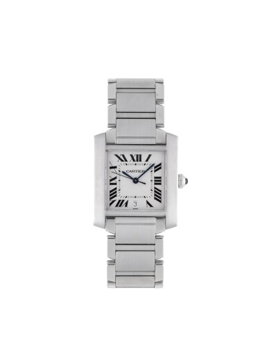 View 1. Thumbnail of Lot 18. CARTIER | TANK FRANCAISE, REF 2302 STAINLESS STEEL WRISTWATCH WITH DATE AND BRACELET CIRCA 2001.