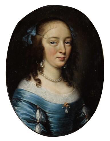 View 1. Thumbnail of Lot 102. FRANCISZEK SMIADECKI | Portrait of an elegant lady, half-length, in a blue dress.