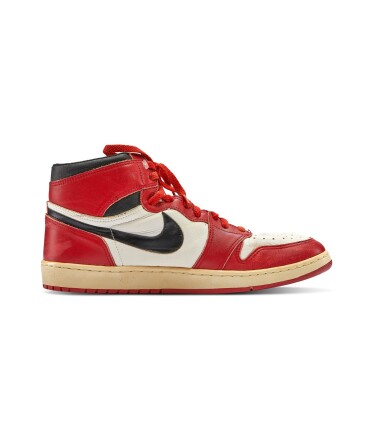 View 4. Thumbnail of Lot 1. Michael Jordan's Game Worn 1985 Player Sample Air Jordan 1s | Sizes 13, 13.5.