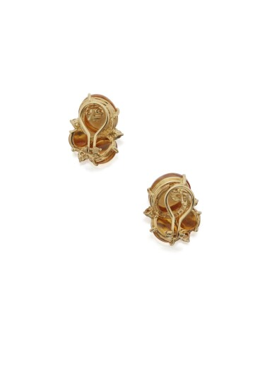 View 2. Thumbnail of Lot 114. PAIR OF CITRINE AND YELLOW SAPPHIRE EARCLIPS, SEAMAN SCHEPPS.