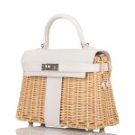 Hermès White Mini Kelly Picnic 20cm of Osier Wicker and Swift Leather with Palladium Hardware