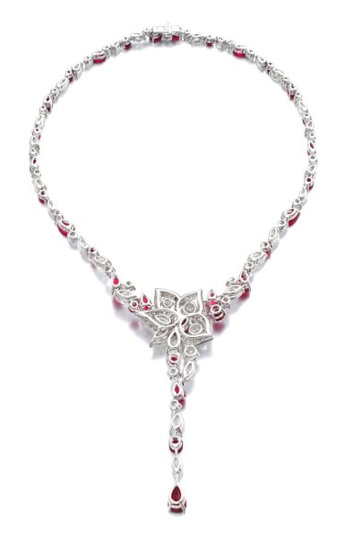 View 3. Thumbnail of Lot 19. GRAFF   RUBY AND DIAMOND NECKLACE.