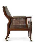 A PAIR OF REGENCY CANED MAHOGANY LIBRARY ARMCHAIRS, FIRST QUARTER 19TH CENTURY, ATTRIBUTED TO GILLOWS